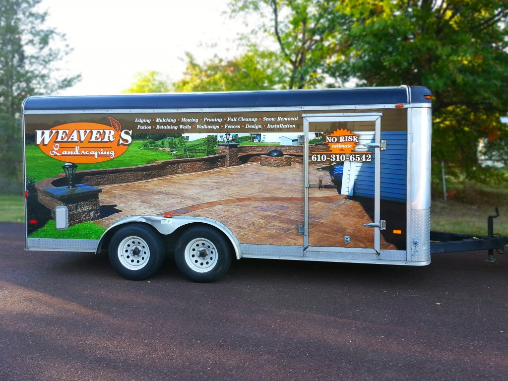 Work trailer vinyl wrap and lettering