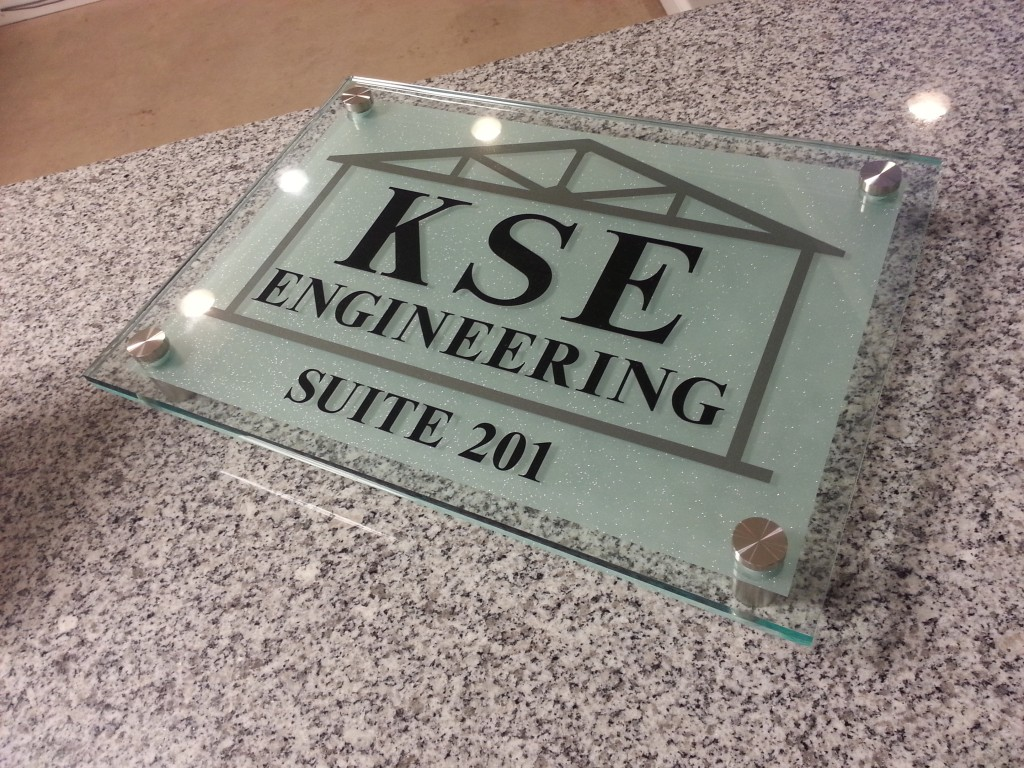 Glass acrylic sign